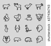 mammal icons set. set of 16... | Shutterstock .eps vector #637436743