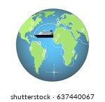 cruise ship on the globe | Shutterstock .eps vector #637440067