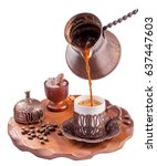 traditional turkish coffee... | Shutterstock . vector #637447603