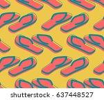 slippers seamless pattern.... | Shutterstock .eps vector #637448527