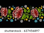 seamless colorful embroidery... | Shutterstock .eps vector #637456897