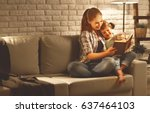 family before going to bed... | Shutterstock . vector #637464103