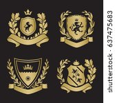 coats of arms   shields with... | Shutterstock .eps vector #637475683