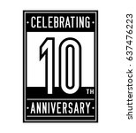 10 years anniversary design... | Shutterstock .eps vector #637476223