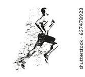 running man  grungy vector... | Shutterstock .eps vector #637478923