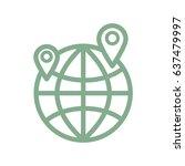 flat design line globe  map...   Shutterstock .eps vector #637479997