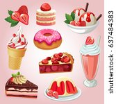 set of delicious sweets and... | Shutterstock .eps vector #637484383