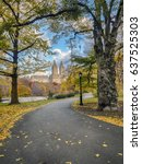 Small photo of Central Park, New York City in late autumn with citiscape in background