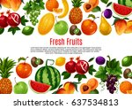 ripe fruits vector poster. farm ... | Shutterstock .eps vector #637534813
