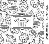 monochrome poster of healthy... | Shutterstock .eps vector #637540033