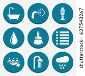 set of 9 drop filled icons such ... | Shutterstock .eps vector #637543267