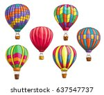 hot air balloon with pattern... | Shutterstock .eps vector #637547737