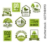 go green vector icons set for... | Shutterstock .eps vector #637548493