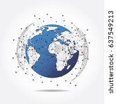 global network connection.... | Shutterstock .eps vector #637549213