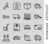 delivery icons set. set of 16... | Shutterstock .eps vector #637551157