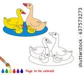 yellow beautiful duck and goose ... | Shutterstock .eps vector #637573273