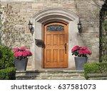 front door with pink hydrangeas | Shutterstock . vector #637581073