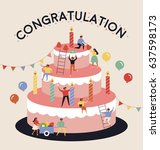birthday party big cake cartoon ... | Shutterstock .eps vector #637598173