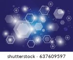 abstract hexagon pattern sci fi ... | Shutterstock .eps vector #637609597
