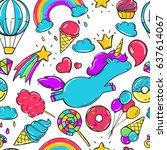 seamless pattern with unicorns  ... | Shutterstock .eps vector #637614067