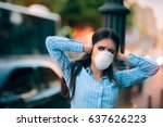 girl with mask covering her... | Shutterstock . vector #637626223