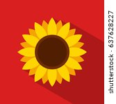 sunflower icon in flat style... | Shutterstock .eps vector #637628227