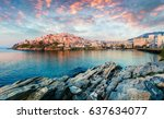 sunny spring panorama of aegean ... | Shutterstock . vector #637634077