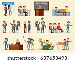 people in university collection ... | Shutterstock .eps vector #637653493