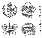 vintage tattoo studio emblems... | Shutterstock .eps vector #637653727