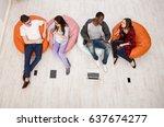 multiethnic young people ... | Shutterstock . vector #637674277