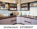 modern kitchen interior made in ... | Shutterstock . vector #637680607