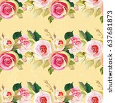 seamless floral pattern with... | Shutterstock .eps vector #637681873