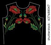 embroidery neck line pattern... | Shutterstock .eps vector #637688047