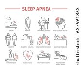 sleep apnea. symptoms ... | Shutterstock . vector #637691863