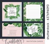 wedding invitation card.... | Shutterstock .eps vector #637696093