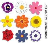 pixel flowers | Shutterstock .eps vector #637705117