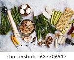 tender greens broccoli with... | Shutterstock . vector #637706917
