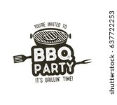 bbq party typography poster... | Shutterstock .eps vector #637722253