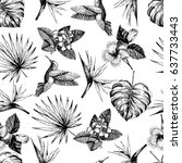 vector hand drawn seamless... | Shutterstock .eps vector #637733443