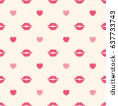 seamless pattern with lips and... | Shutterstock .eps vector #637733743