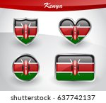 glossy kenya flag icon set with ... | Shutterstock .eps vector #637742137