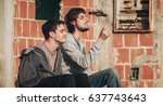 young urban friends smoke... | Shutterstock . vector #637743643