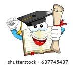 book mascot cartoon graduate...   Shutterstock .eps vector #637745437