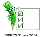 green color pencil mascot...   Shutterstock .eps vector #637755787