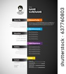 creative cv template with paper ... | Shutterstock .eps vector #637760803