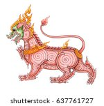 the lion is a thai art picture. ... | Shutterstock . vector #637761727