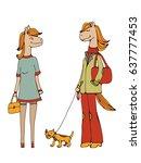 cute hand drawn horse character ... | Shutterstock .eps vector #637777453