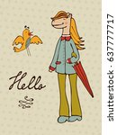 hello card with hand drawn... | Shutterstock .eps vector #637777717