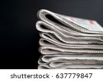 stack of folded newspapers in...   Shutterstock . vector #637779847