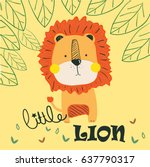 little lion illustration vector ... | Shutterstock .eps vector #637790317